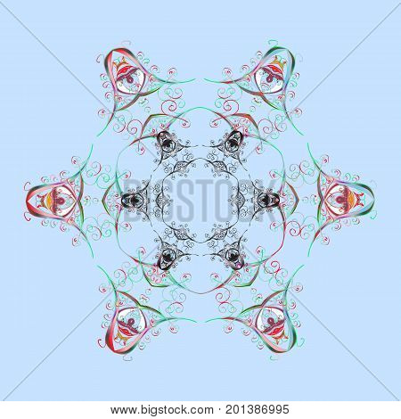Snowflakes pattern. Flat design of snowflakes isolated on colorful background. Snowflake ornamental pattern. Vector illustration. Snowflakes background.
