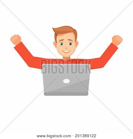 Euphoric winner working with laptop on a desk winning at home.male character celebrating, hands up.vector illustration isolated from background.young man doing a winner gesture