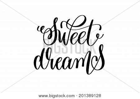 sweet dreams - black and white handwritten lettering of unicorn magical positive quote calligraphy text vector illustration