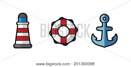 Vector icon sea lighthouse, lifebuoy and anchor on white background. Illustration sea lighthouse, lifebuoy and anchor