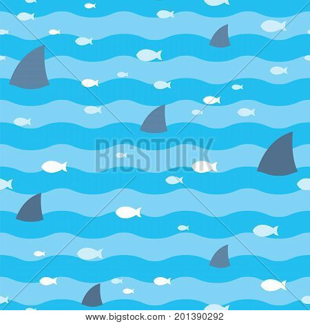 Pattern fish and fins sharks swimming in blue sea. Sharks and fish swimming in sea seamless print. Sharks pattern. Fish pattern