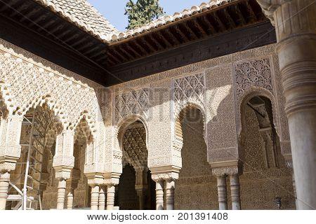 Patio De Los Leones, Patio Of The Lion, In The Palacios Nazaries. Alhambr
