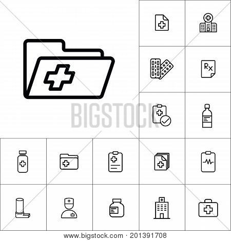 Medical Patient History Record Folder Icon, Medicines Set On Whi