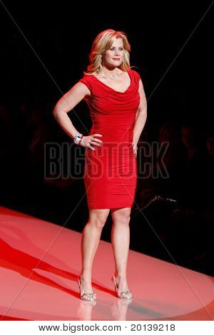 NEW YORK - FEBRUARY 9:  Actress Alison Sweeney walks the runway at The Heart Truth's Red Dress Fashion Show during Mercedes-Benz Fashion Week at Lincoln Center on February 9, 2011 in New York City.