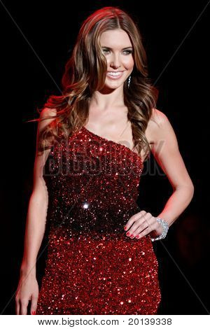 NEW YORK - FEBRUARY 9: Actress Audrina Partridge walks the runway for the Heart Truth's Red Dress Collection during Mercedes-Benz Fashion Week at Lincoln Center on February 9, 2011 in New York City.