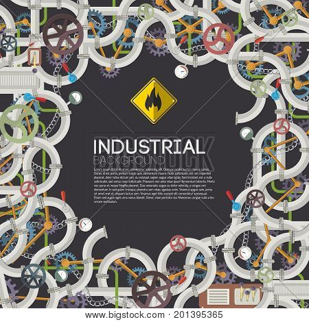 Industrial mechanical template with text steel gray pipes valves chains gears pressure meters fittings selectors vector illustration