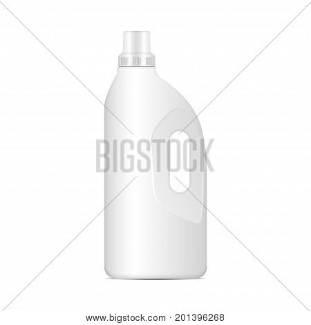 Laundry detergent white plastic bottle, vector realistic packaging mockup for your design