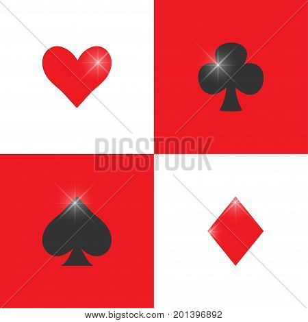French playing cards suits or pips vector seamless pattern. Casino poker cards or Gambling background. Great for online playing rooms. Club or clover, diamond or tile, spade or pike, heart card suits.