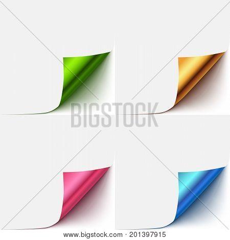 realistic vector paper curlud corner set. Colorful paper flip over