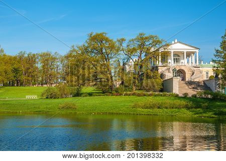 Cameron galleries on the shore of the Great Pond in the Catherine Park in Tsarskoye Selo (Pushkin) in St. Petersburg. Russia, Saint-Petersburg. May 9, 2016