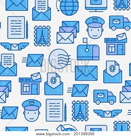 Post office seamless pattern with thin line icons. Symbols of shipping, delivery, packaging. Vector illustration for banner, web page, print media.