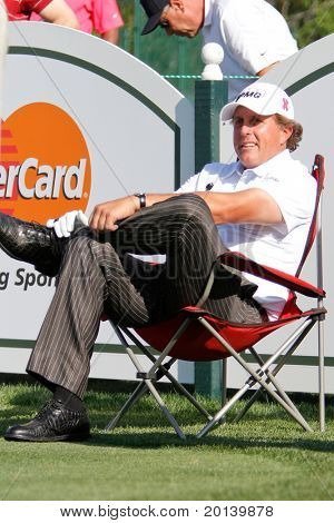 ORLANDO, FL - MARCH 23: Phil Mickelson rests on the tee during a practice round at the Arnold Palmer Invitational Golf Tournament on March 23, 2011 at the Bay Hill Club and Lodge in Orlando, Florida.