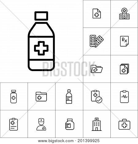 Sypup Bottle Icon, Medicines Set On White Background
