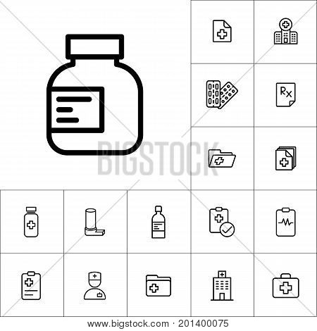 Pills Bottle Icon, Medicines Set On White Background