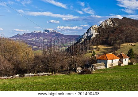 Meadows and hills,  Homolje mountains landscape on a sunny day in early spring, east Serbia