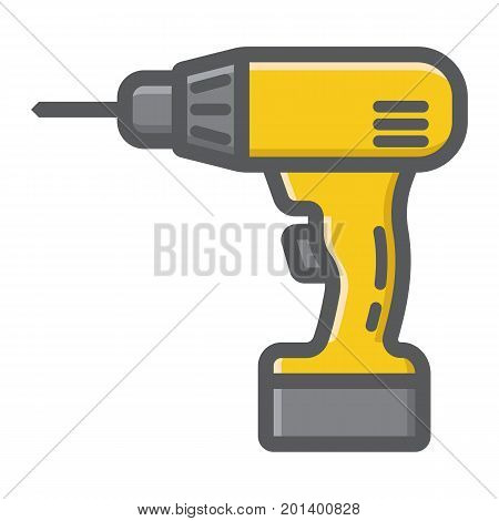 Electric Drill filled outline icon, build and repair, electrical screwdriver sign vector graphics, a colorful line pattern on a white background, eps 10.