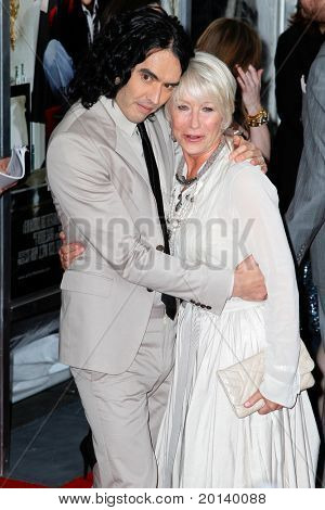 NEW YORK, NY - APRIL 5: Russell Brand and Helen Mirren attend the New York premiere of 'Arthur' at the Ziegfeld Theatre on April 5, 2011 in New York City.