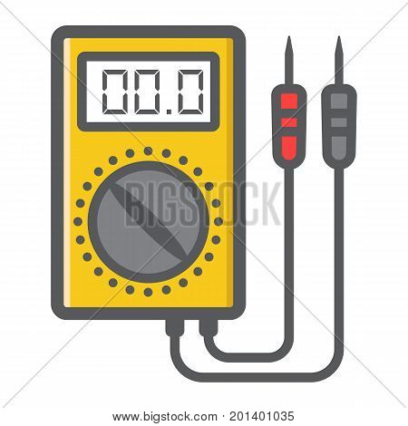 Digital multimeter filled outline icon, build and repair, electric volmeter sign vector graphics, a colorful line pattern on a white background, eps 10.
