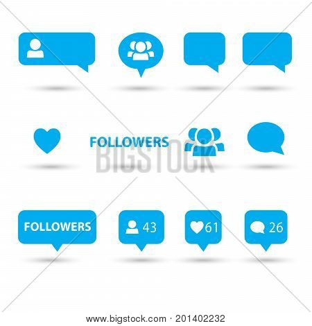 Like, follower, heart, comment icons, speech bubbles, followers blue icon, isolated on white background with shadow. Logo talk bubble blue icon, buttons - set vector illustration. Media element flat design