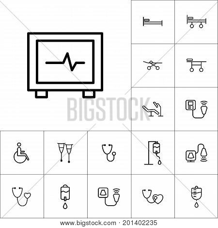 Ecg Machine, Heart Pulse Icon On White Background