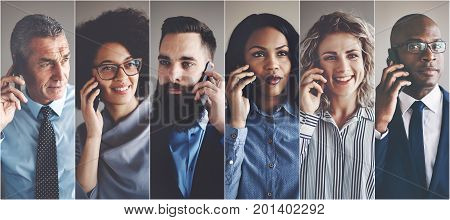 Collage of a diverse group of businessmen and businesswomen having conversations on cellphones
