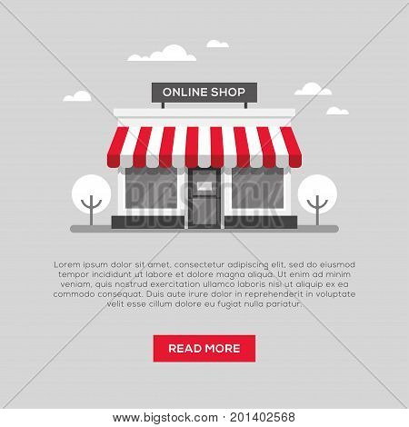 Storefront illustration in flat style. Online shop store banner design.