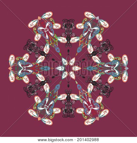 Flat design with abstract snowflakes isolated on colors background. Vector illustration. Snowflake colorful pattern. Snowflakes pattern. Vector snowflakes background.