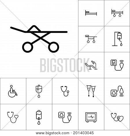 Stretcher Icon, Medical Tools Set On White Background