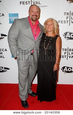 """NEW YORK - APRIL 20: Hugo Girard and wife Nadina attend the opening night premiere of """"The Union"""" at the 2011 TriBeCa Film Festival at World Financial Center Plaza on April 20, 2011 in New York City."""