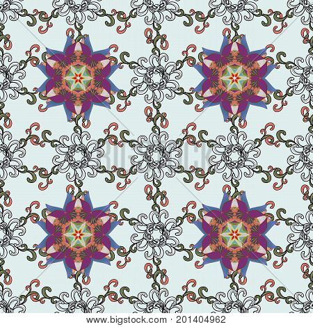 Seamless floral pattern with flowers watercolor. Vector pattern. Fancy fabric pattern.