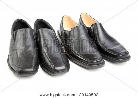 Two Pairs Black Man's A Shoe