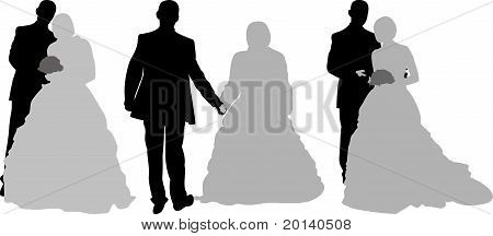 Silhouette bridal couple