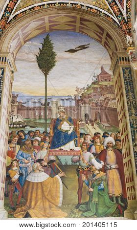 Fresco In Piccolomini Library, Siena - Launch Of A Crusade In Ancona