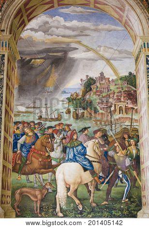 Fresco In Piccolomini Library, Siena