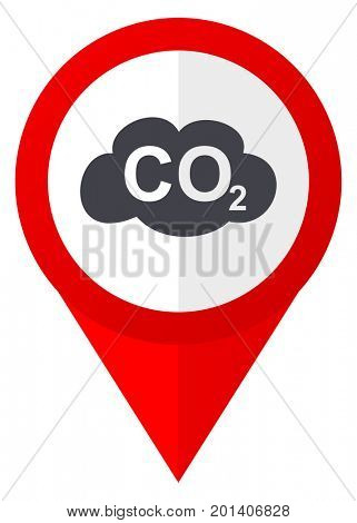 Carbon dioxide red web pointer icon. Webdesign button on white background.
