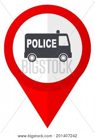 Police red web pointer icon. Webdesign button on white background.