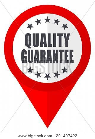 Quality guarantee red web pointer icon. Webdesign button on white background.