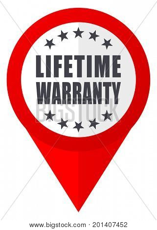 Lifetime warranty red web pointer icon. Webdesign button on white background.