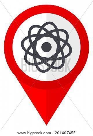 Atom red web pointer icon. Webdesign button on white background.