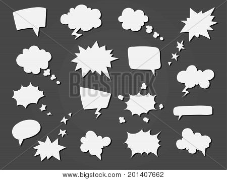 Cartoon speech balloons collection. Set of speech clouds. Sketch of message bubbles. Hand drawn vector illustration.