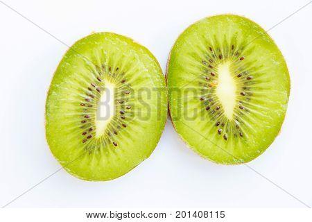 kiwi fruit of whole and cut kiwi isolated on a white background