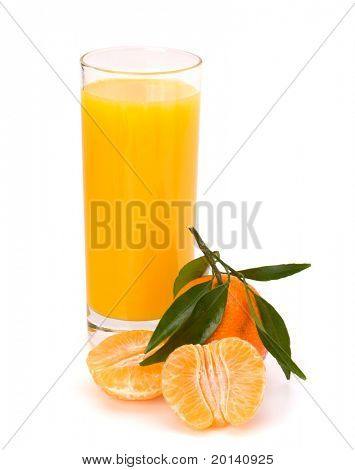 Tangerine and juice glass isolated on white background