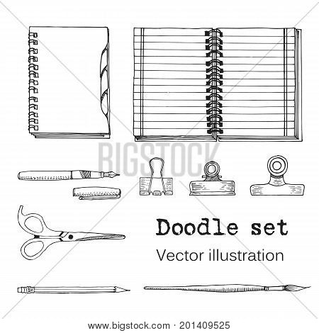 Vector Set of Sketch Notebooks Notepads and Diaries. Office stuff. Doodle writing supplies pen pencil scissors. Hand drawn illustration. Cool design elements for infographic. School
