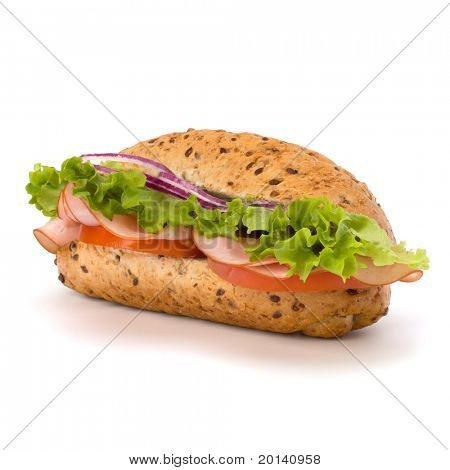 Big appetizing  fast food baguette sandwich with lettuce, tomato, smoked ham and cheese isolated on white background. Junk food subway.