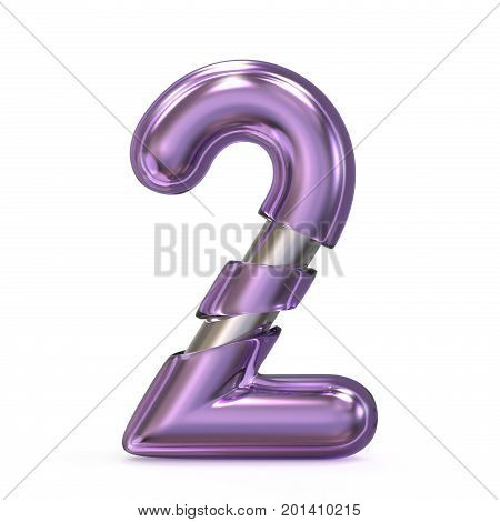 Purple Gem With Metal Core Font Number 2 Two 3D