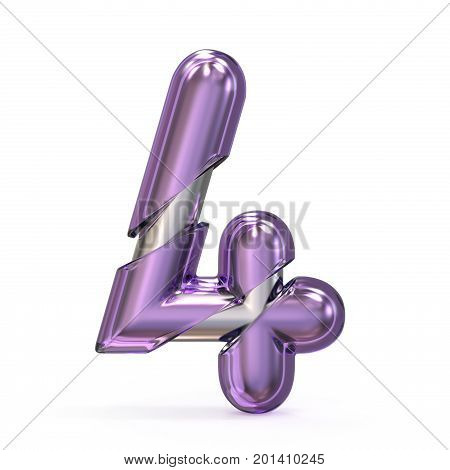 Purple Gem With Metal Core Font Number 4 Four 3D