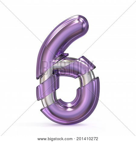 Purple Gem With Metal Core Font Number 6 Six 3D