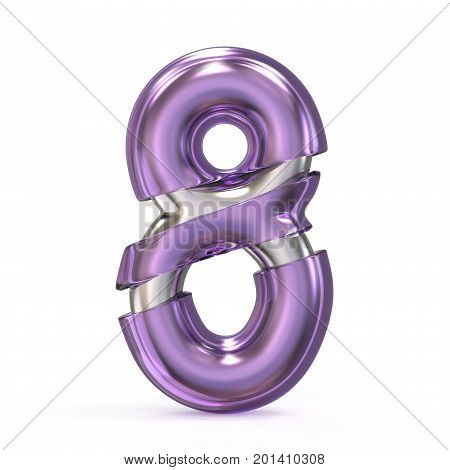 Purple Gem With Metal Core Font Number 8 Eight 3D