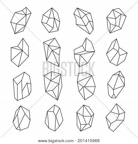 Crystal shapes outline set. Crystals and gems in many forms and sizes, mineralogical collection. Vector flat style line art illustration, isolated on white background