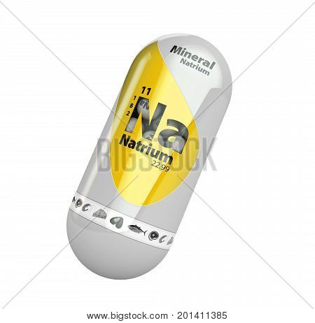 Mineral Na Natrium Yellow Shining Pill Capsule Icon . Mineral Vitamin Complex With Chemical Formula
